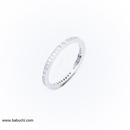 Precio anillo plata rodiada alianza fina con circonitas
