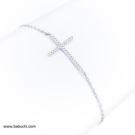 Precio pulsera plata rodiada fina cruz circonitas
