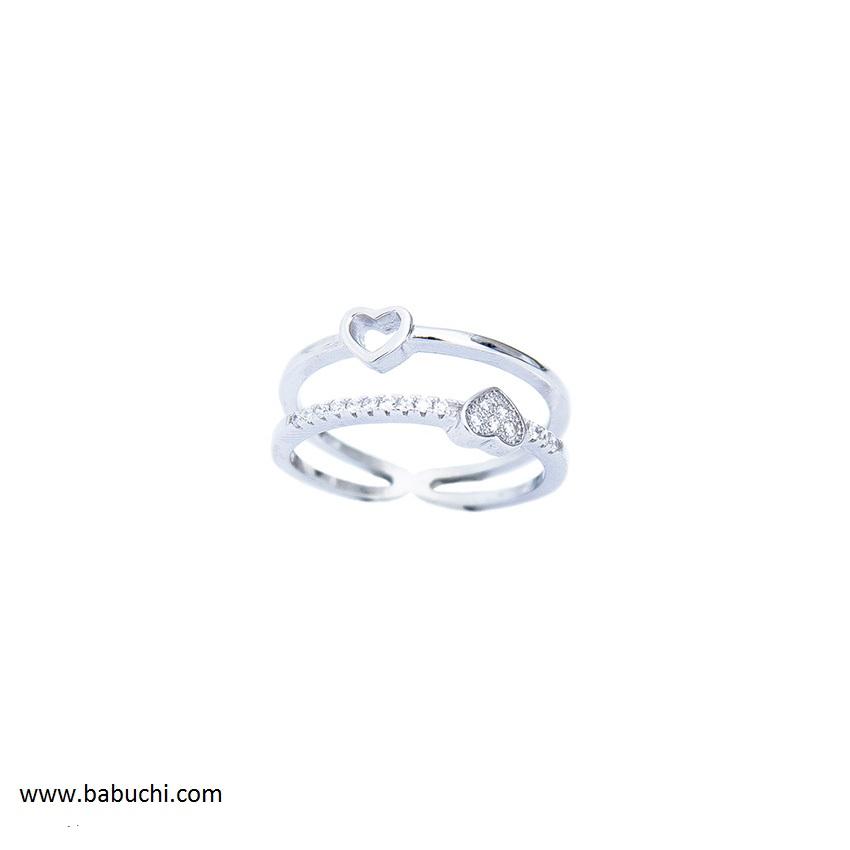 667f201f92e0 Comprar anillo de plata rodiada doble aro con conrazones