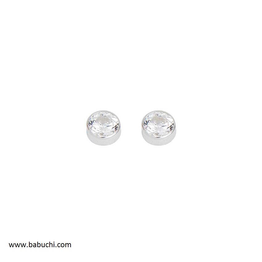 b8abf28a3285 Pendientes plata primera postura chatón redondo - Babuchi