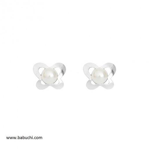 precio pendientes niña de plata de ley mariposa calada con perla grande