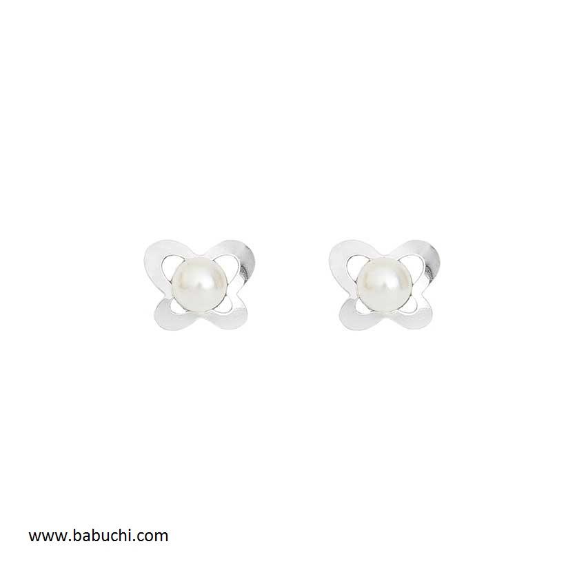 100% autentico 4f337 734d8 Pendientes plata bebé mariposa calada perla
