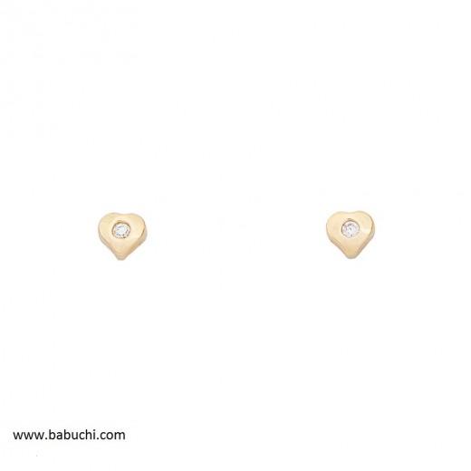 precio pendientes oro 18k bebé corazón circonita mini