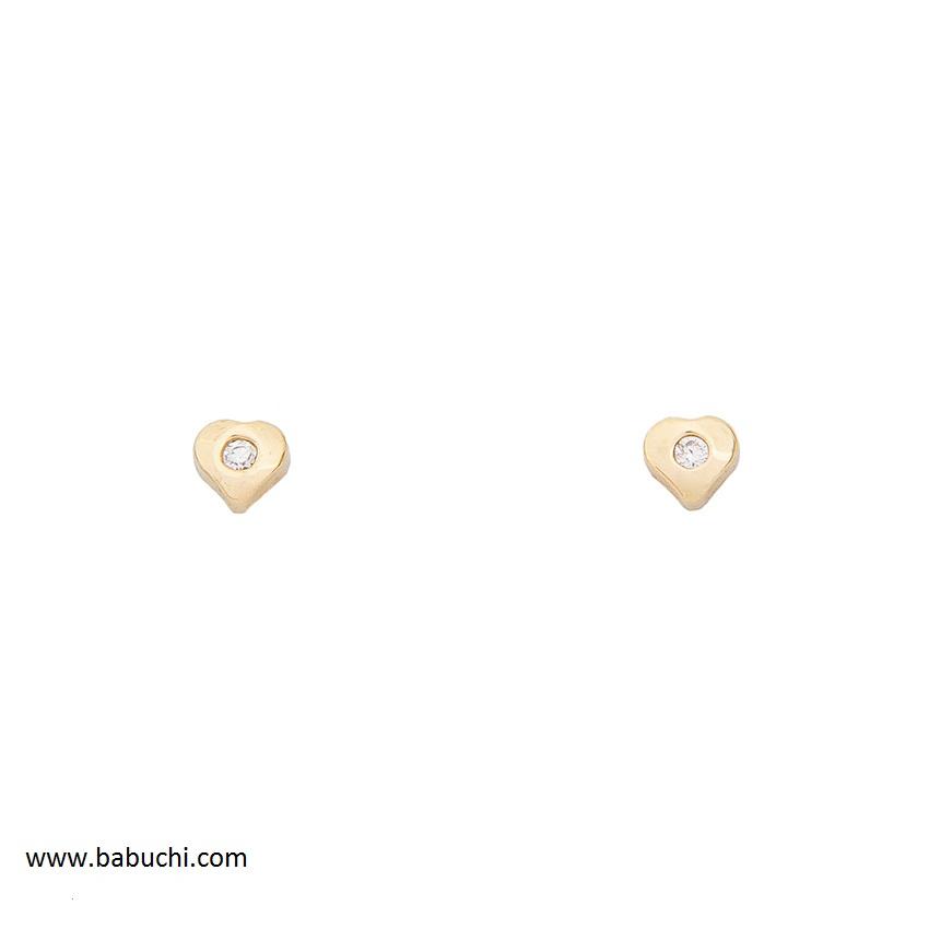 e1f1cf134325 Pendientes oro 18 k primera postura corazón mini - Babuchi