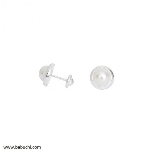 precio pendientes plata de ley redondos perla pequeños