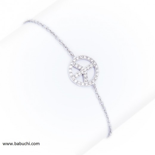 precio pulsera de plata rodiada fina simbolo de la paz circonitas