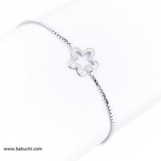 precio pulsera de plata rodiada finita flor circonitas