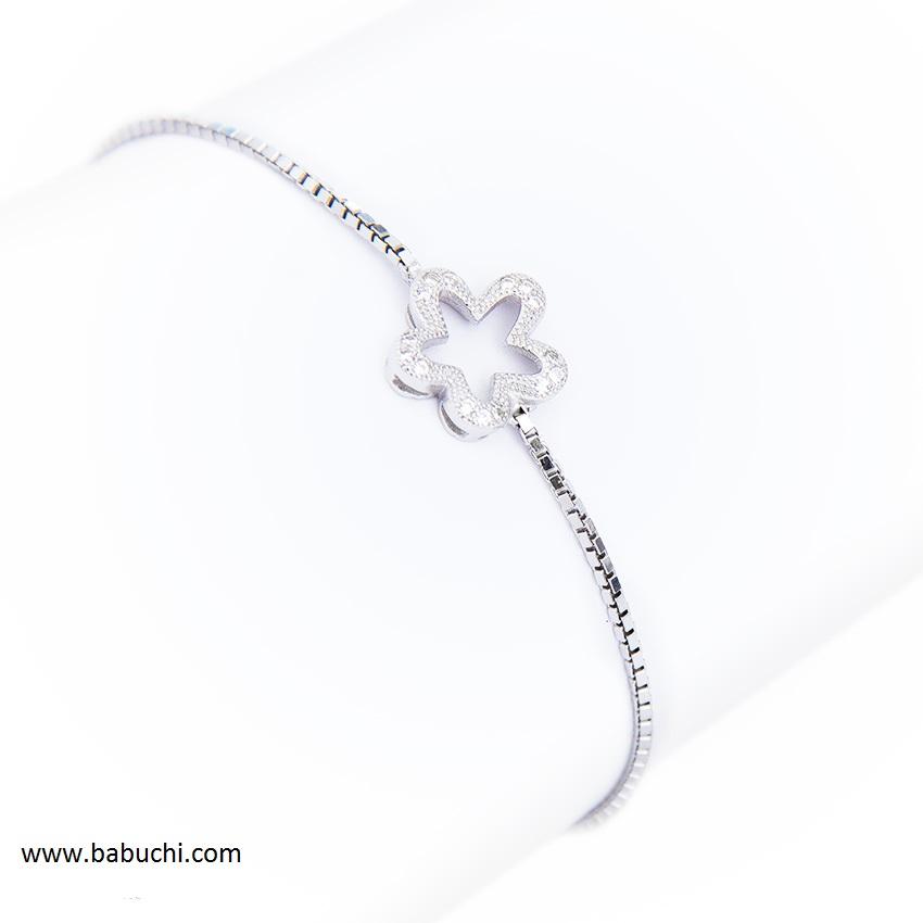 353aefc5b0e2 Pulsera plata flor calada circonitas rodiada - Babuchi