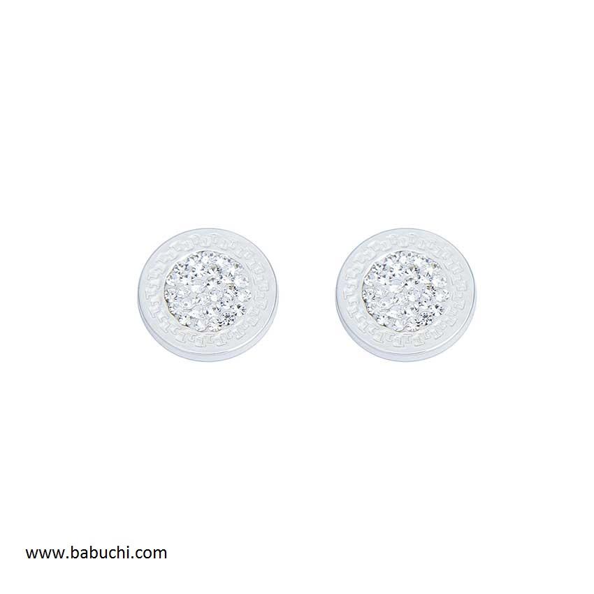 65993ce192bd precio pendientes mujer de plata de ley redondo greca piedras grande
