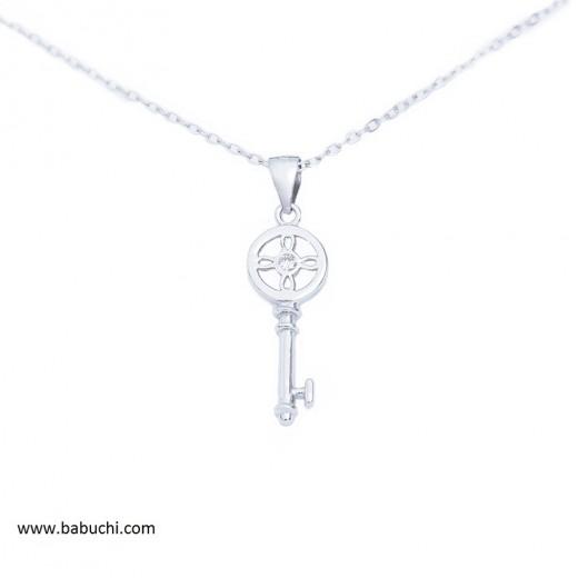 Colgante con cadena plata rodiada llave de la vida llave de la felicidad mujer y niña