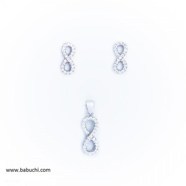 Conjunto de pendientes y colgante plata rodiada infinito circonitas mujer