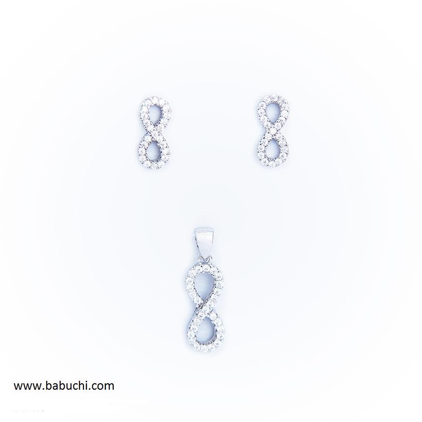 b74a30ba6c8f Conjunto de pendientes y colgante plata rodiada infinito circonitas mujer
