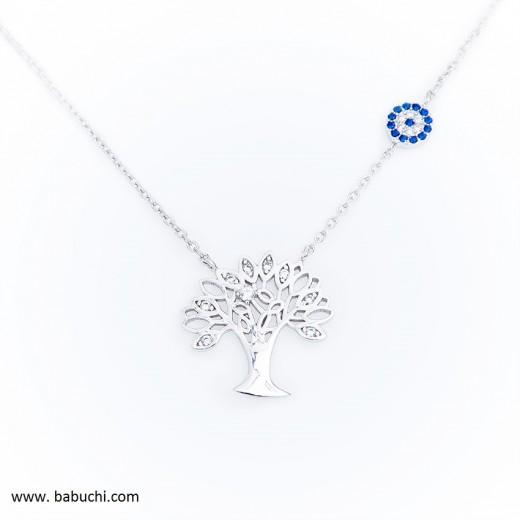 Gargantilla colgante silueta árbol de la vida plata rodiada