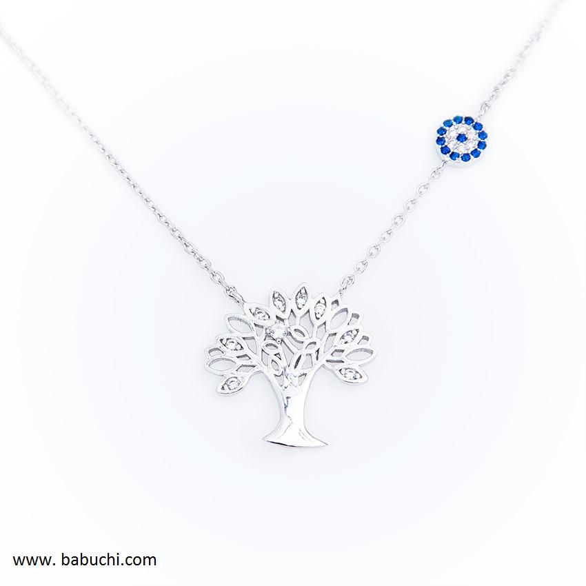 5b2dd8fd7d33 Gargantilla colgante silueta árbol de la vida plata rodiada