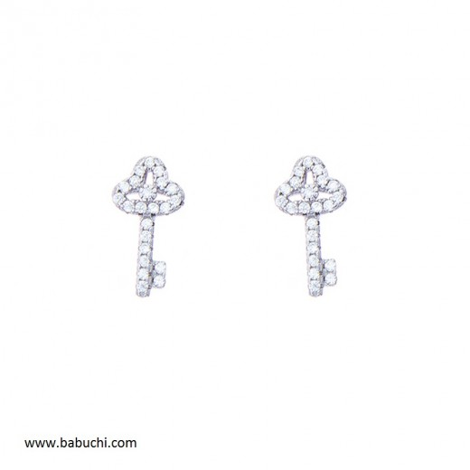 Pendientes plata rodiada llave de la felicidad llave de la vida circonitas mujer niña