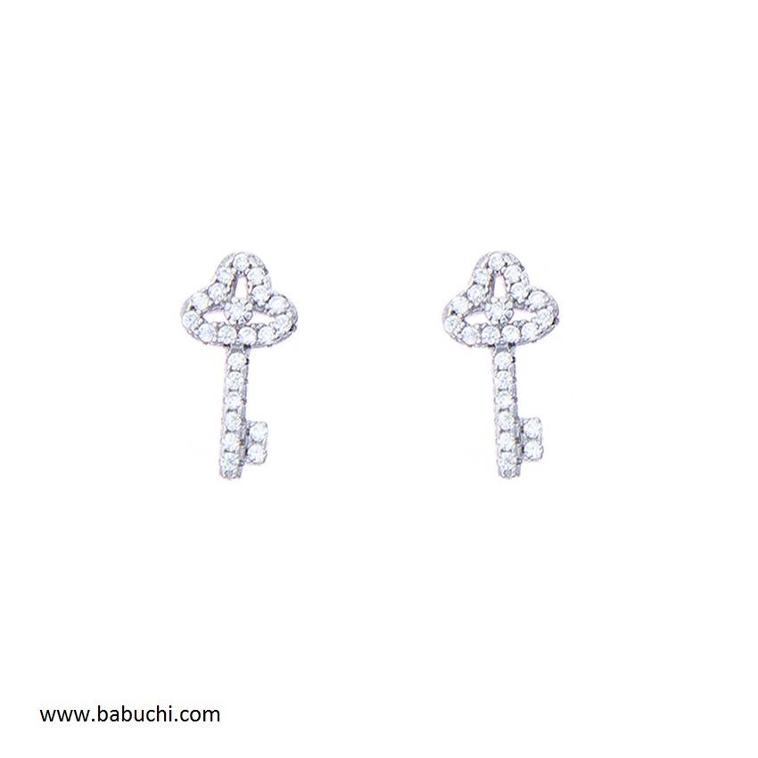 dde33b490a0f Pendientes plata rodiada llave de la felicidad llave de la vida circonitas  mujer niña