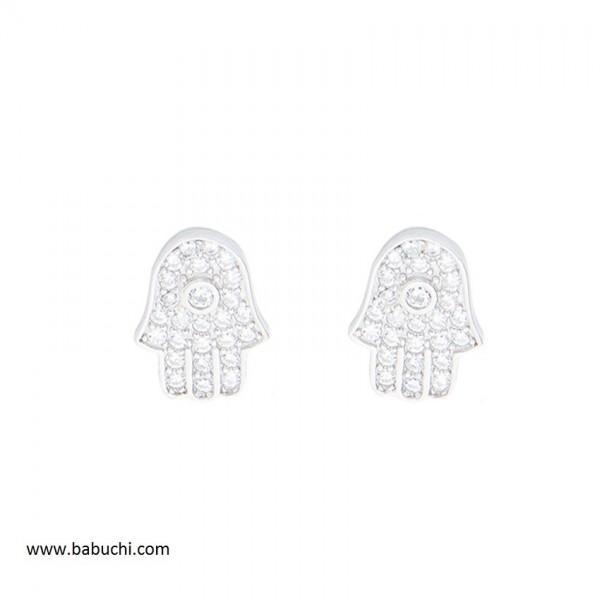 Pendientes plata rodiada mano de Fátima circonitas mujer y niña