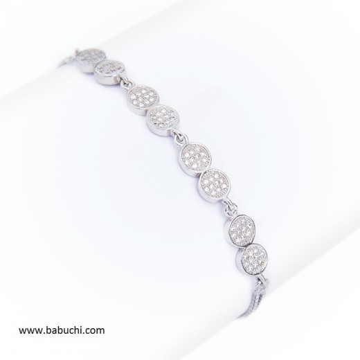 Pulsera doble cadena círculos circonitas plata rodiada mujer