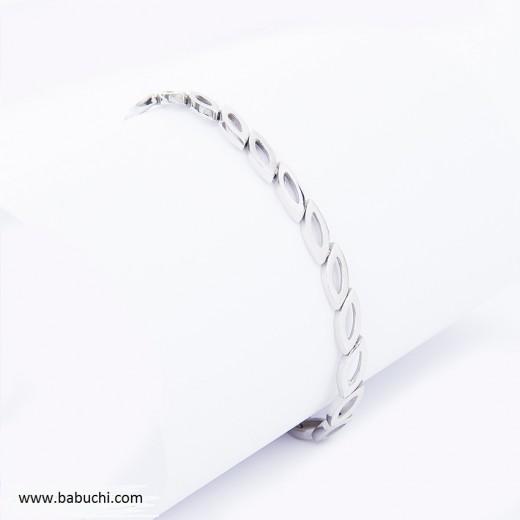 Pulsera plata de ley rodiada hojas y cadena adaptable