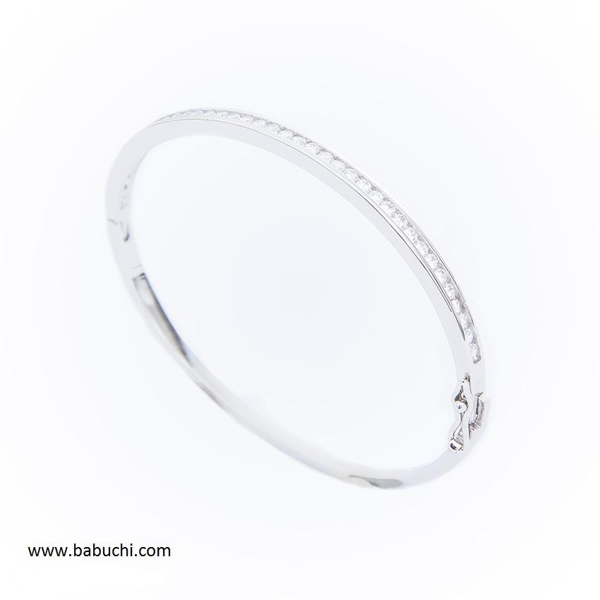 3541e6b2c47c Pulsera de mujer ovalada con circonitas en plata rodiada