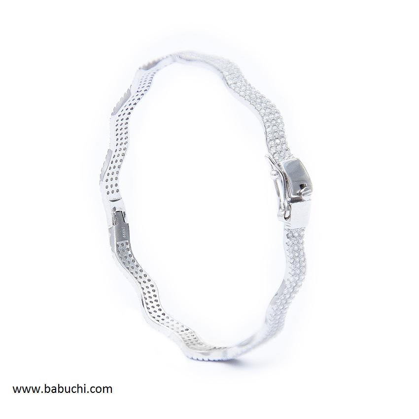 4b9b995f9d77 Pulsera mujer plata rodiada rígida ondas circonitas - Babuchi