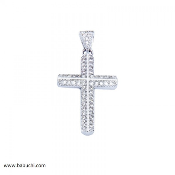 colgante de cruz plata rodiada mujer circonitas precio