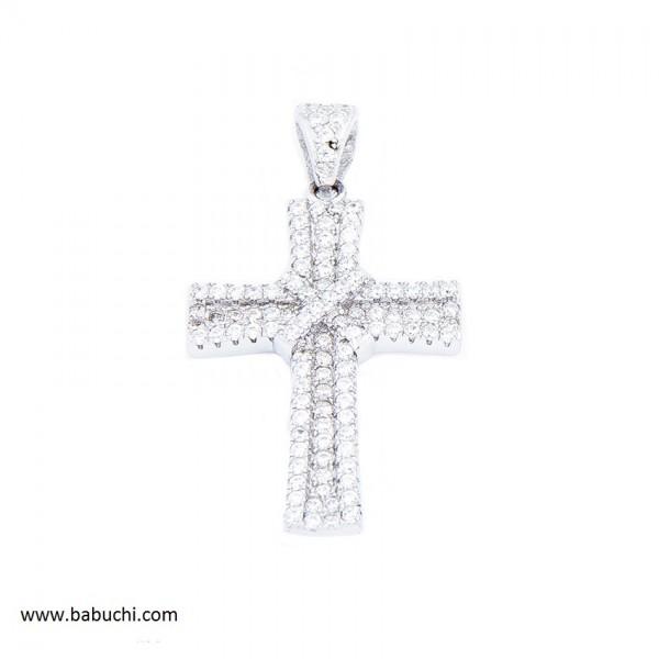 Colgante cruz de mujer plata rodiada circonitas
