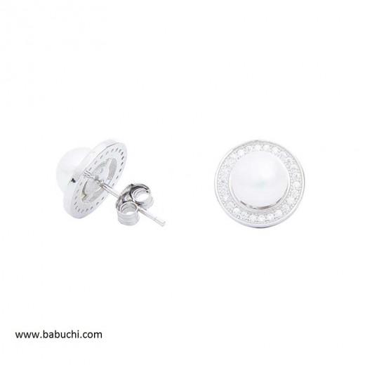 Pendientes mujer redondos perla y circonitas plata rodiada