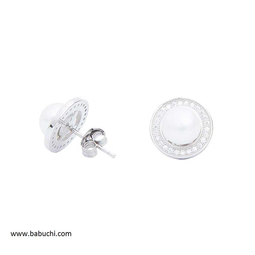 d76a7decb61b Pendientes mujer redondos perla y circonitas plata rodiada