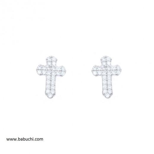 Pendientes de cruz mujer plata rodiada