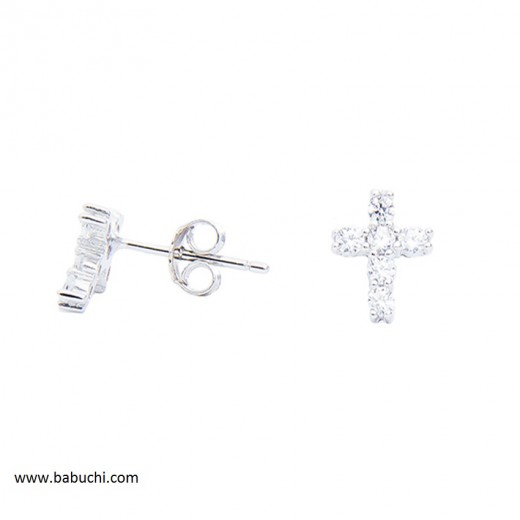 Pendientes plata rodiada cruz circonitas mujer