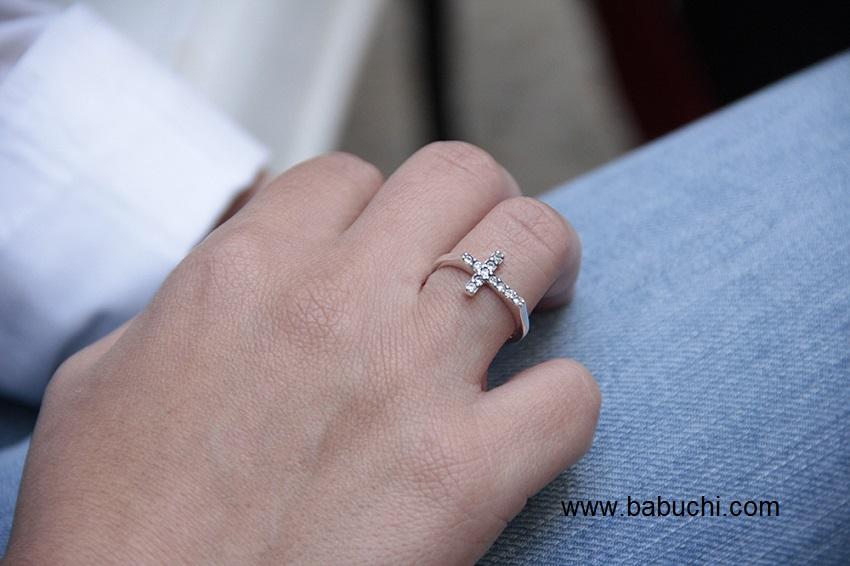 750ed4c9cefa anillo de mujer en plata de ley cruz con circonitas