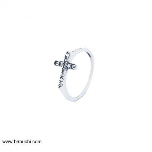 anillo de plata cruz circonitas mujer