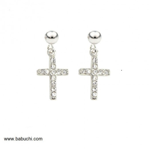pendientes de plata cruz con circonitas