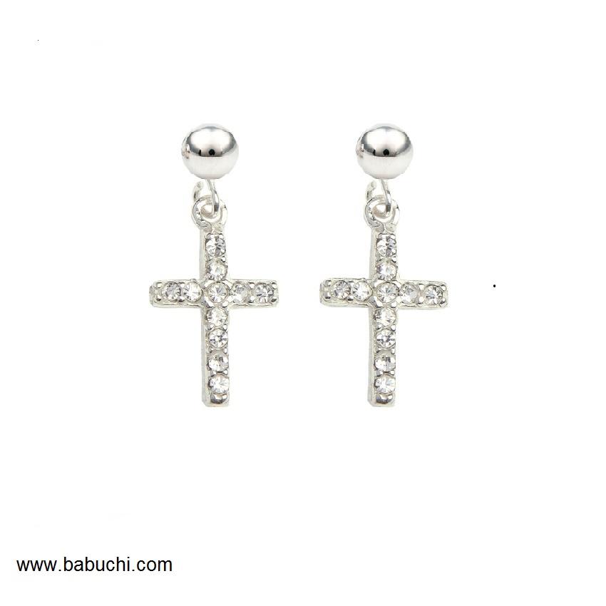 67a0ed352bed Pendientes de plata cruz con circonitas