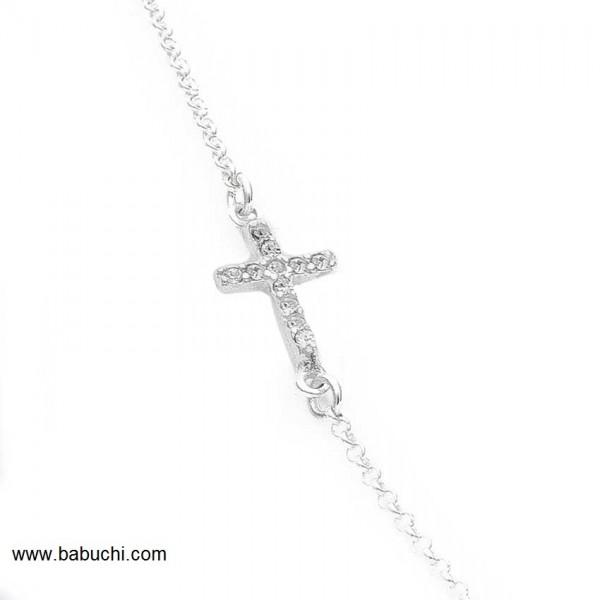 cadena de plata de ley con cruz circonitas