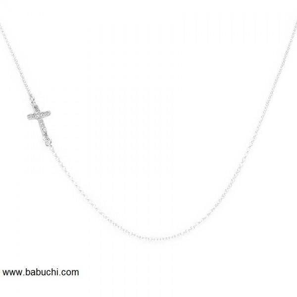 cadena de plata con cruz circonitas
